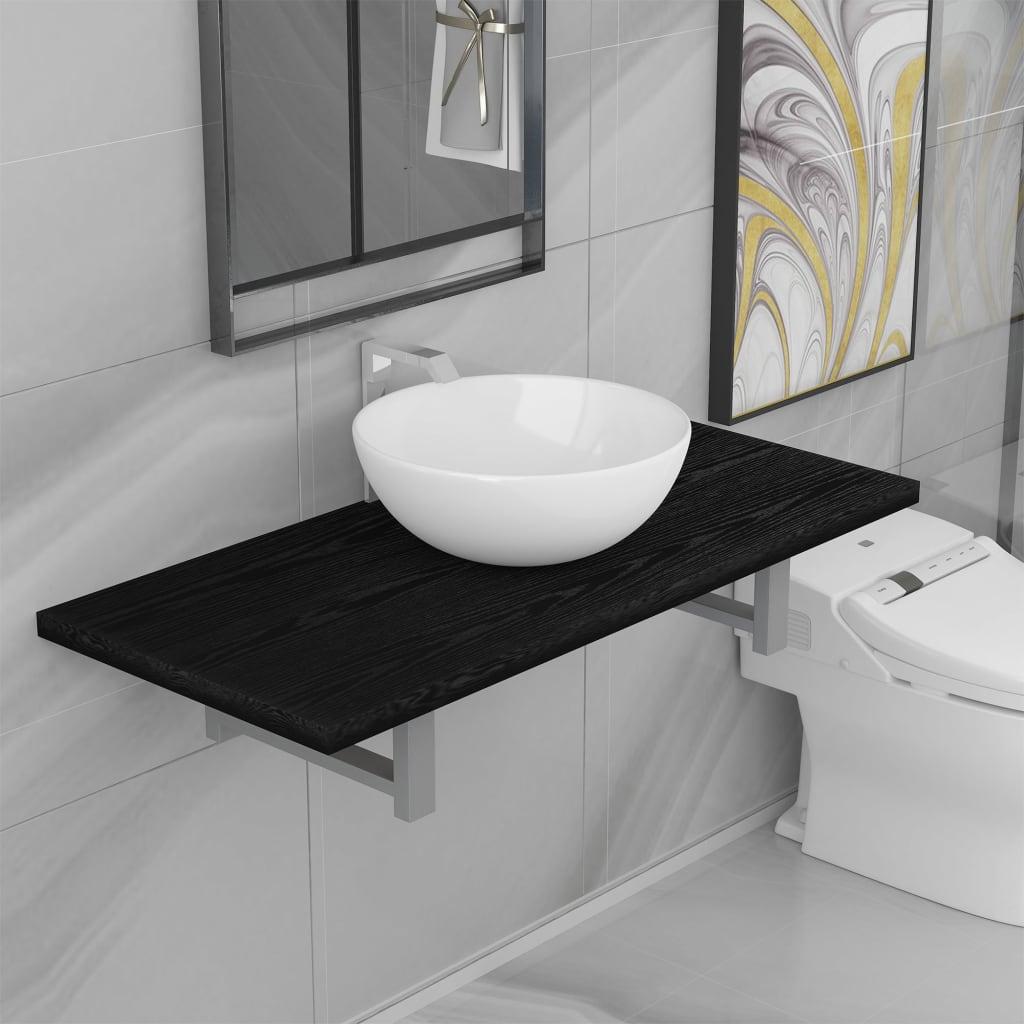 vidaXL Set mobilier de baie, 2 piese, negru, ceramică imagine vidaxl.ro