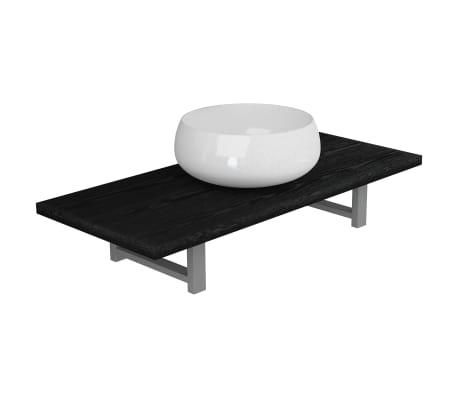 vidaXL Meuble de salle de bain en deux pièces Céramique Noir