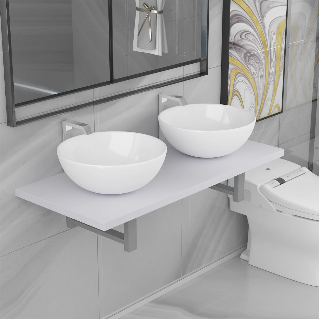 vidaXL 3dílný set koupelnového nábytku keramika bílý