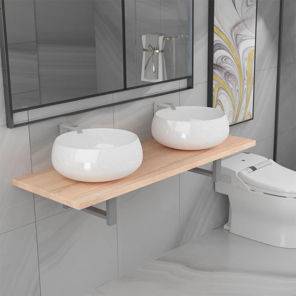vidaXL Set mobilier de baie din trei piese, ceramică și stejar poza 2021 vidaXL