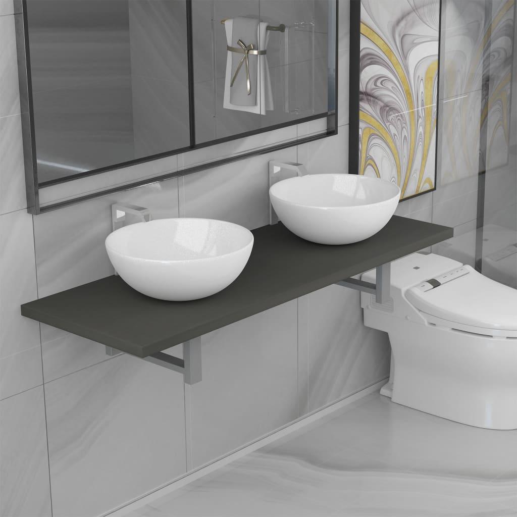 vidaXL 3dílný set koupelnového nábytku keramika šedý