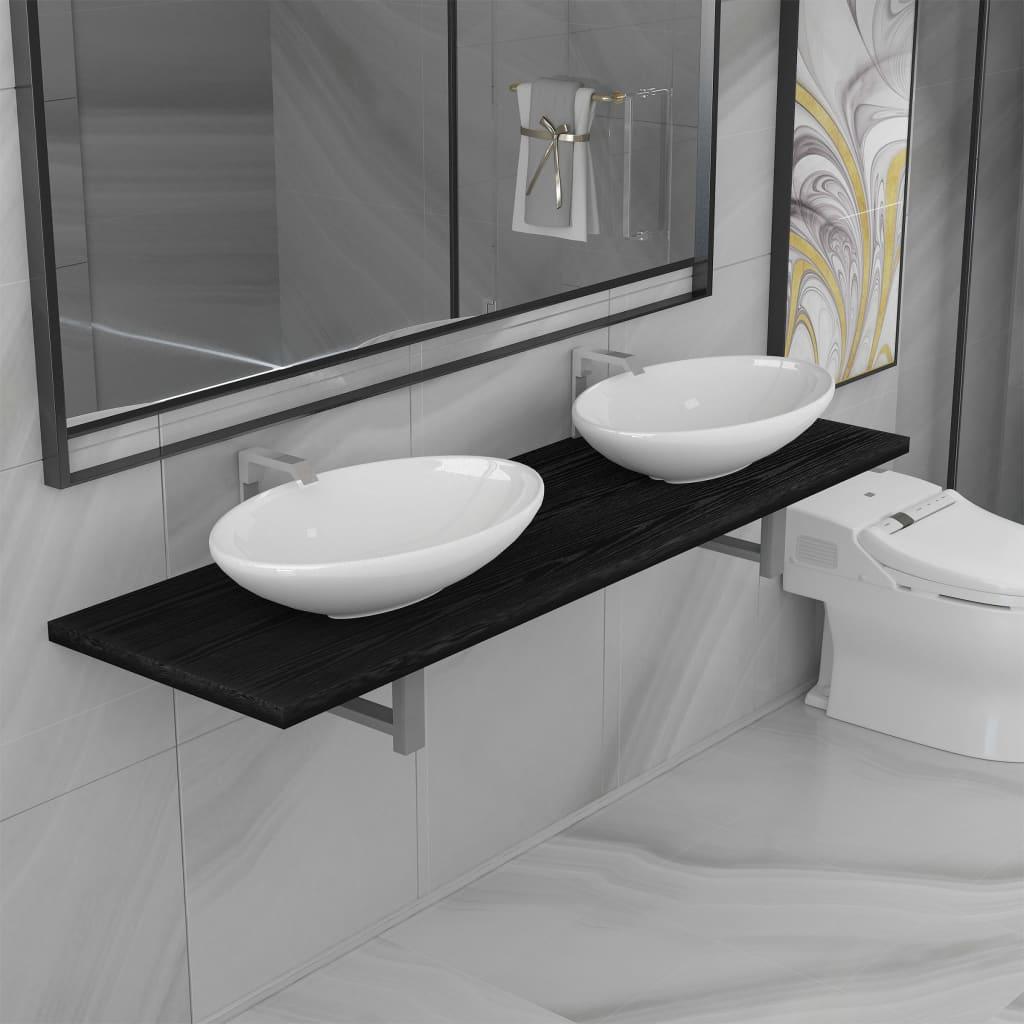 vidaXL Set mobilier de baie din trei piese, negru, ceramică imagine vidaxl.ro