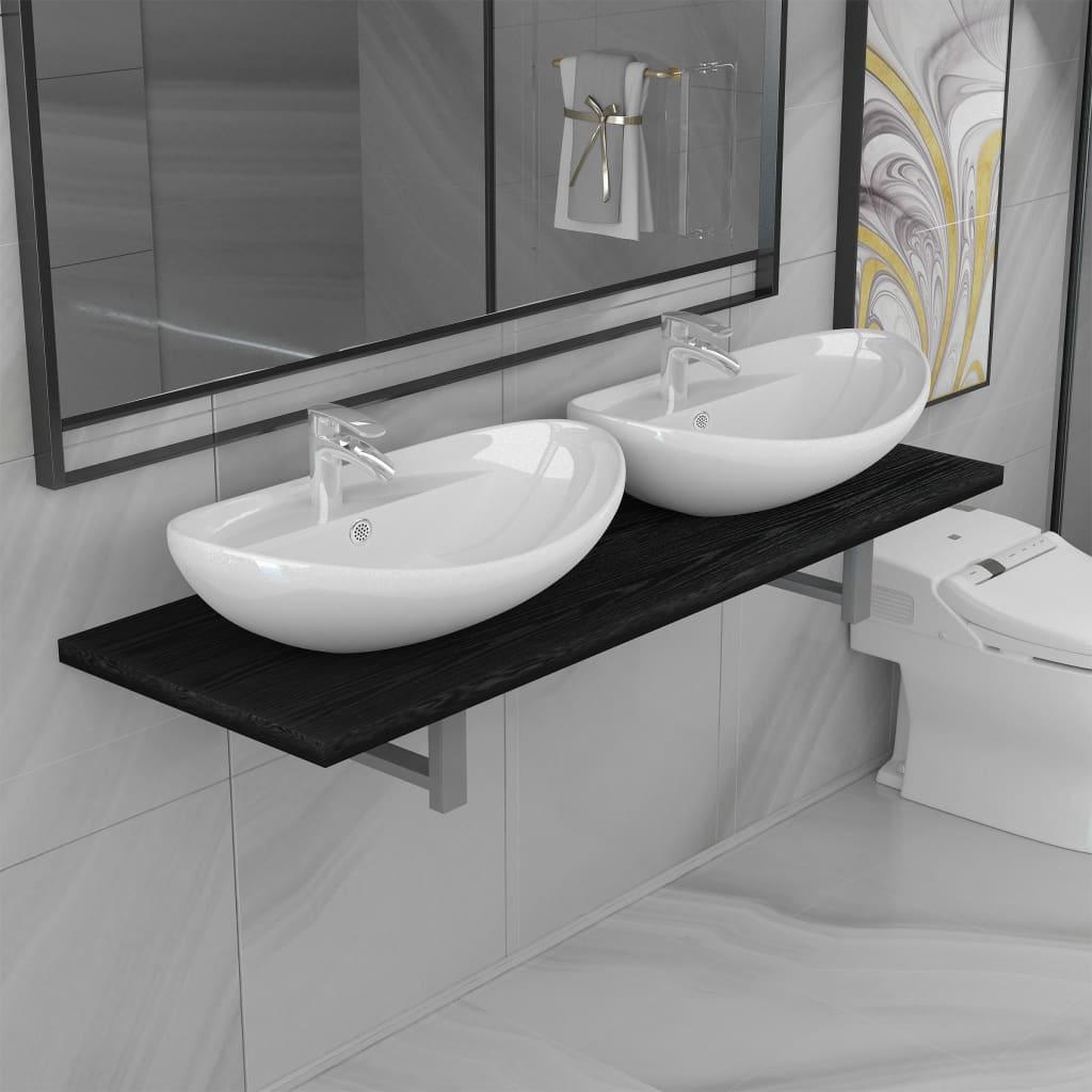 vidaXL Set mobilier de baie din trei piese, negru, ceramică poza vidaxl.ro