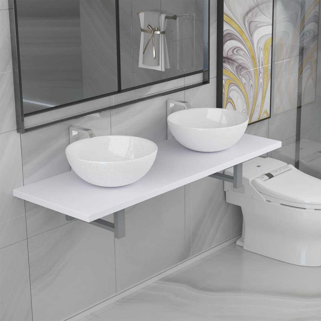 vidaXL Set mobilier de baie din trei piese, alb, ceramică poza vidaxl.ro