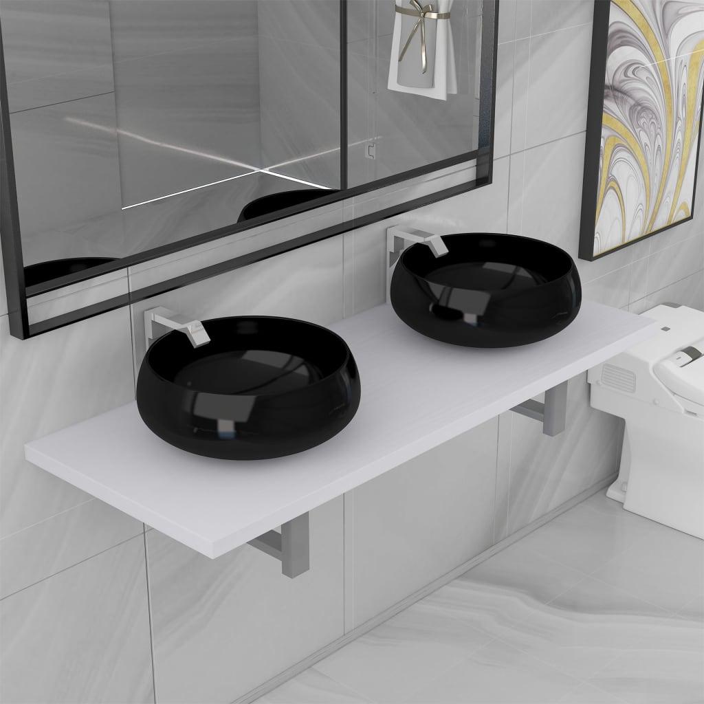 vidaXL Set mobilier de baie din trei piese, alb, ceramică vidaxl.ro