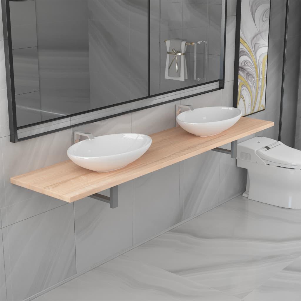 3dílný set koupelnového nábytku keramika dub