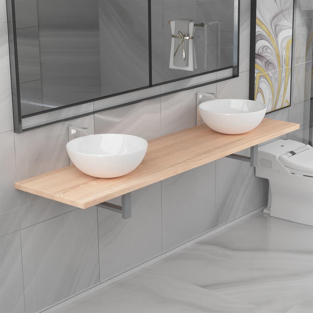 vidaXL Set mobilier de baie din trei piese, ceramică și stejar imagine vidaxl.ro