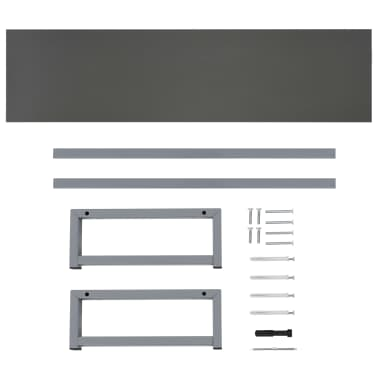 vidaXL Tridelni komplet kopalniškega pohištva iz keramike siv[13/15]