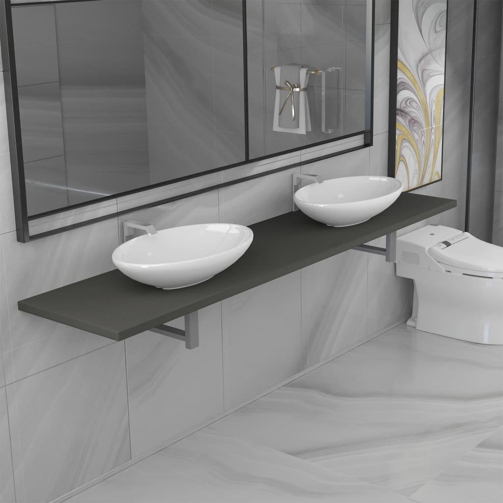 3dílný set koupelnového nábytku keramika šedý