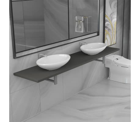 vidaXL Tridelni komplet kopalniškega pohištva iz keramike siv[1/15]