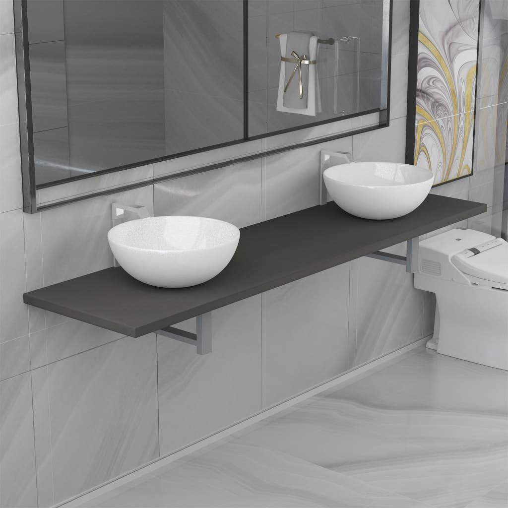 vidaXL Set mobilier de baie din trei piese, gri, ceramică imagine vidaxl.ro