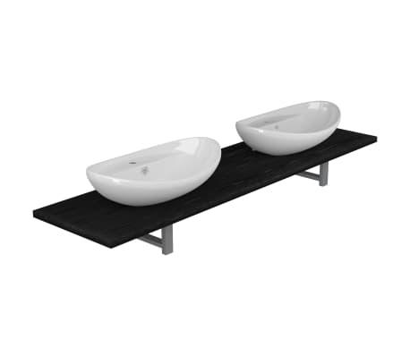 vidaXL Tridelni komplet kopalniškega pohištva iz keramike črn