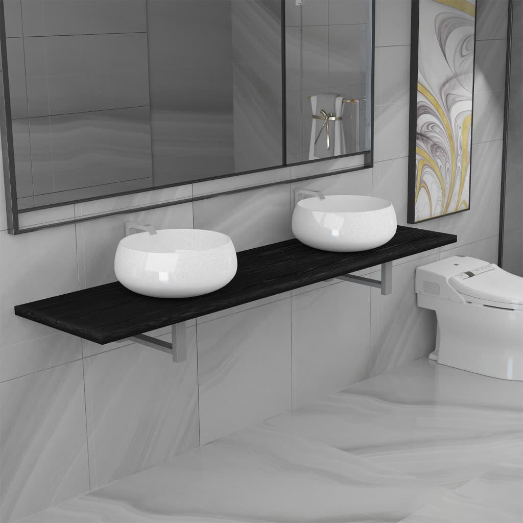 vidaXL Set mobilier de baie din 3 piese, negru, ceramică imagine vidaxl.ro
