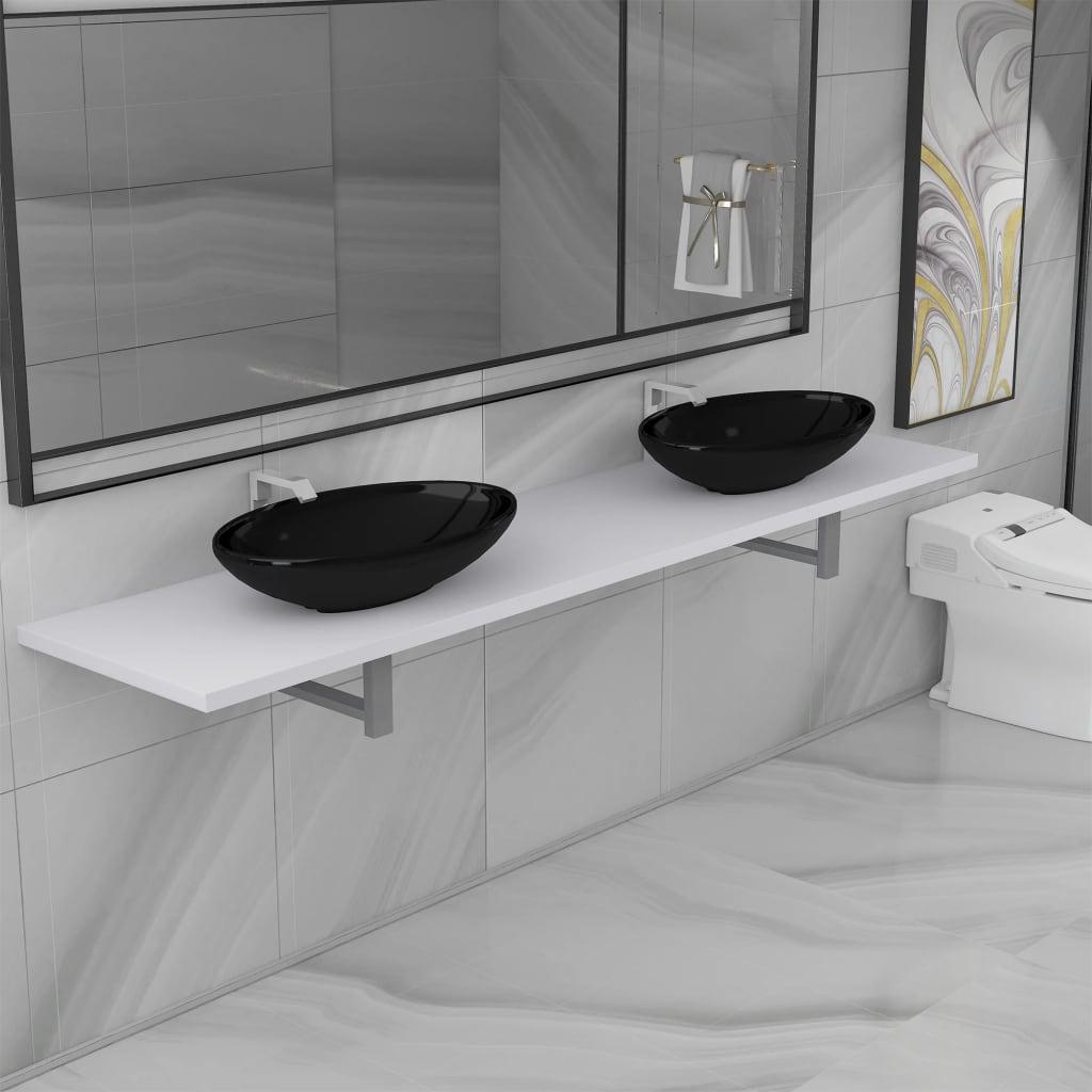 vidaXL Set mobilier de baie din trei piese, alb, ceramică imagine vidaxl.ro