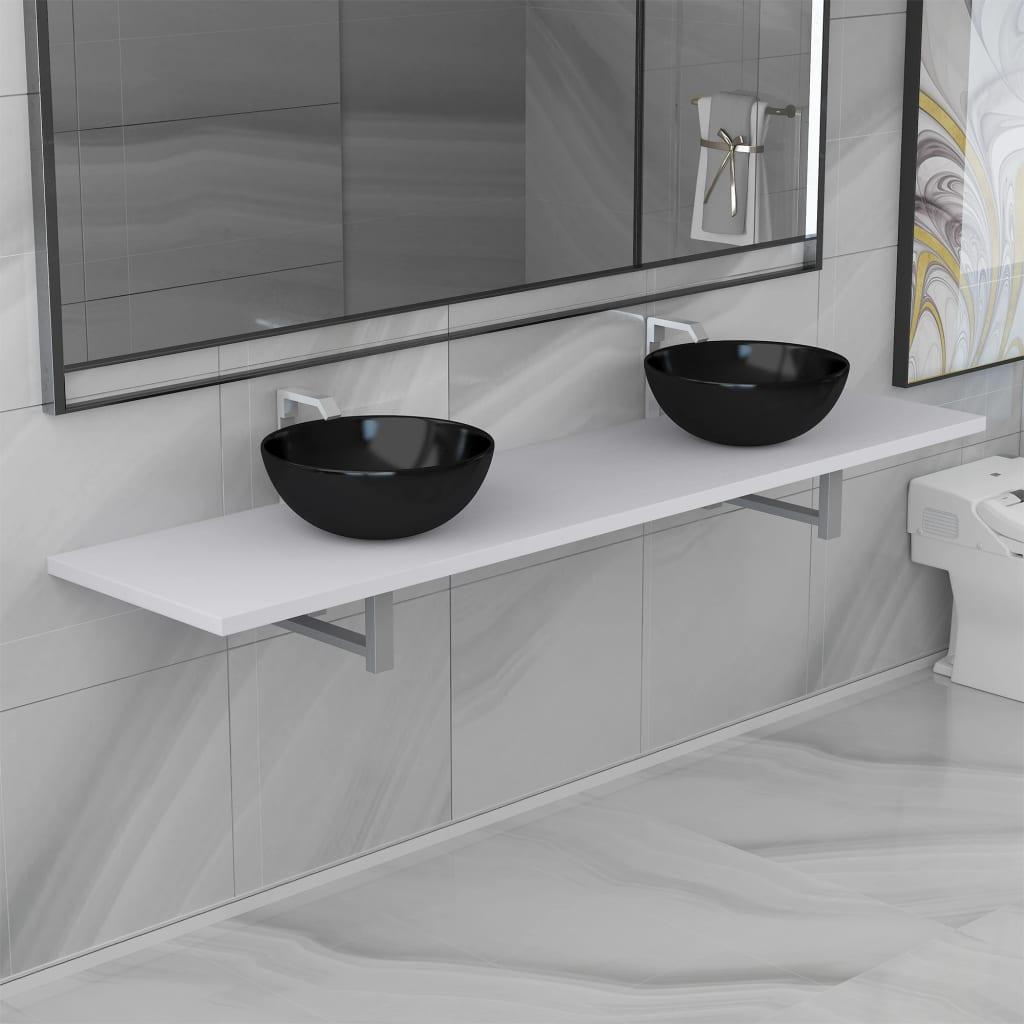 vidaXL Set mobilier de baie din trei piese, alb, ceramică poza 2021 vidaXL