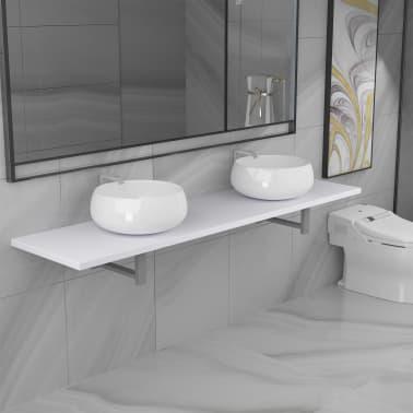 vidaXL Tridelni komplet kopalniškega pohištva iz keramike bel[1/15]