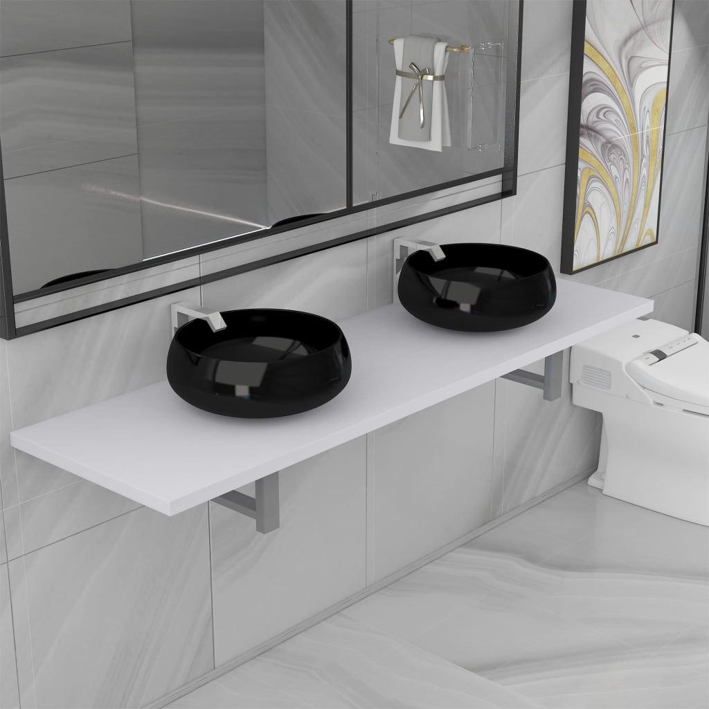 3dílný set koupelnového nábytku keramika bílý
