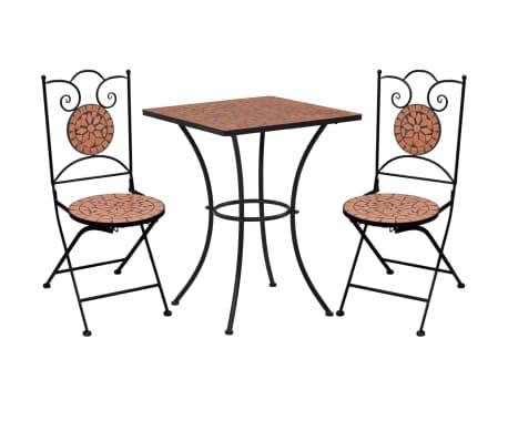 vidaXL Mobilier de bistro 3 pcs mosaïque Carreau céramique Terre cuite