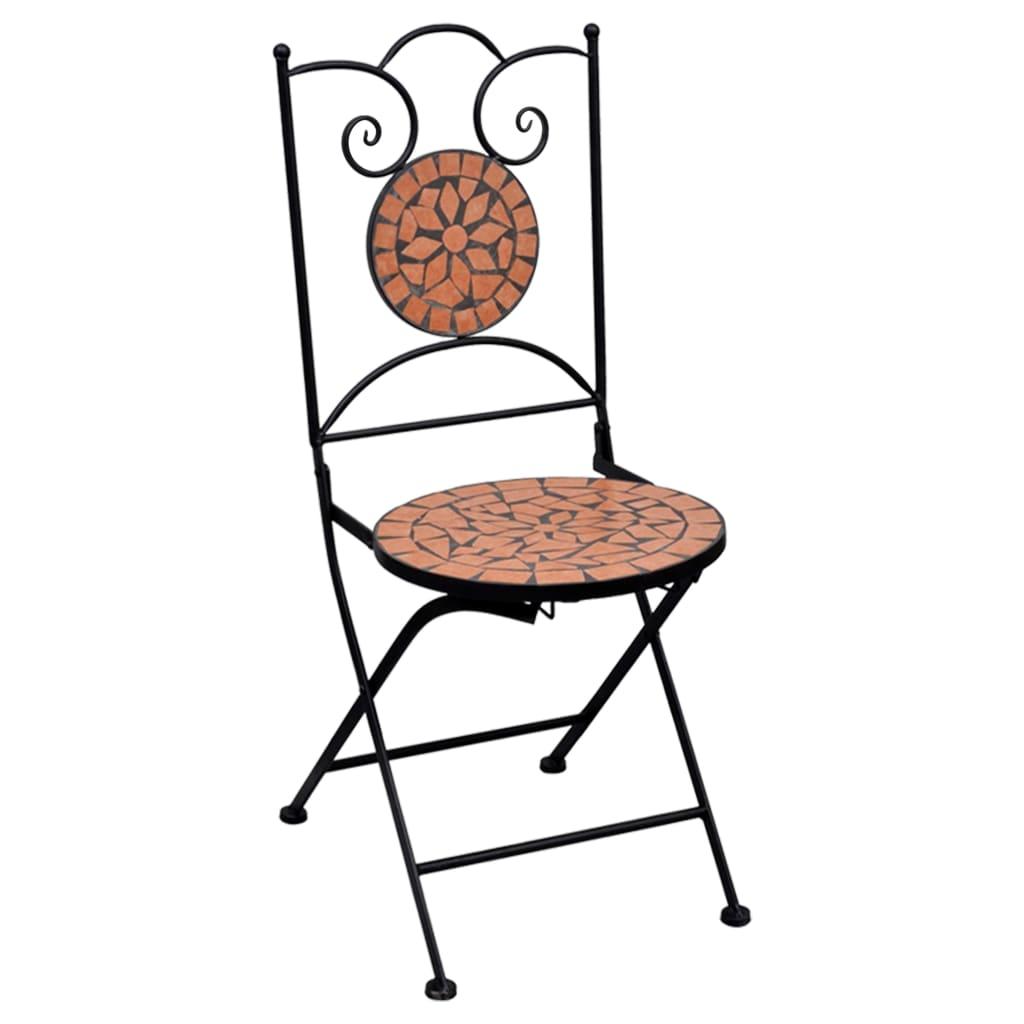 3-delige Bistroset mozaïek keramische tegel terracottakleurig