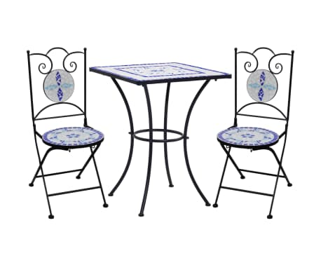 vidaXL 3 Piece Mosaic Bistro Set Ceramic Tile Blue and White