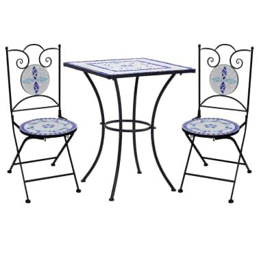 vidaXL Mobilier de bistro 3 pcs mosaïque Carreau céramique Bleu Blanc[1/13]