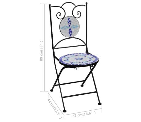 vidaXL Mobilier de bistro 3 pcs mosaïque Carreau céramique Bleu Blanc[13/13]