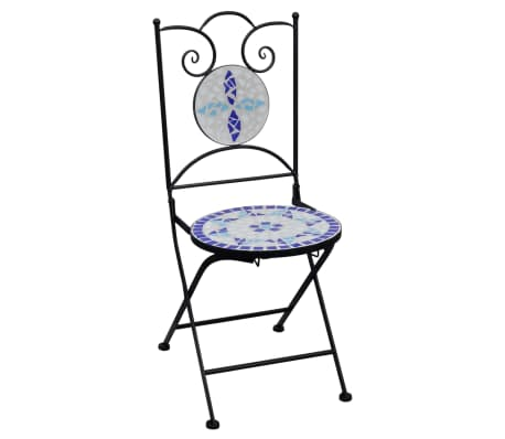 vidaXL Mobilier de bistro 3 pcs mosaïque Carreau céramique Bleu Blanc[3/13]