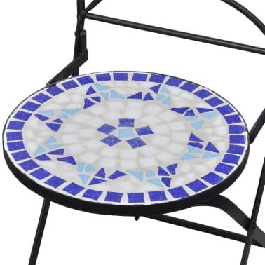 vidaXL Mobilier de bistro 3 pcs mosaïque Carreau céramique Bleu Blanc[8/13]