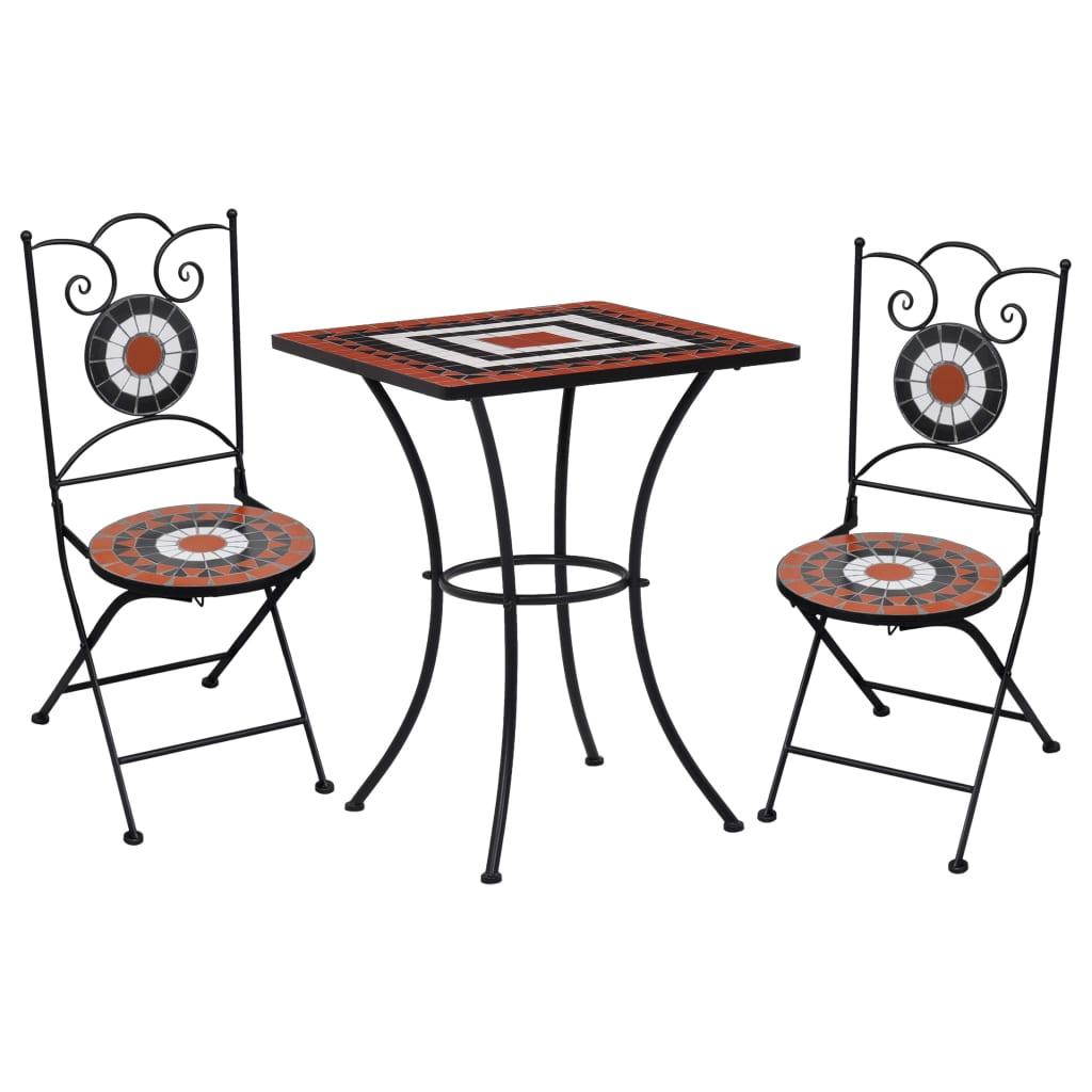 vidaXL 3-cz. zestaw mebli bistro z mozaiką, terrakota i biel, ceramika