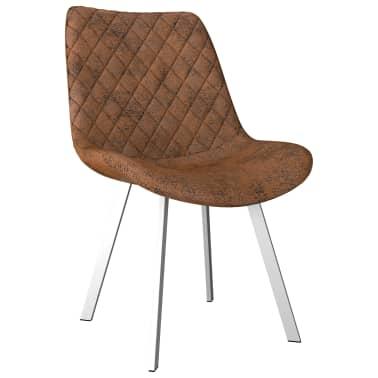 Shop vidaXL spisebordsstole 4 stk. imiteret ruskind brun