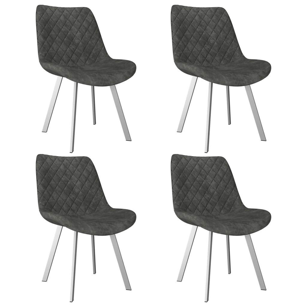 vidaXL Καρέκλες Τραπεζαρίας 4 τεμ. Γκρι από Συνθετικό Καστόρι