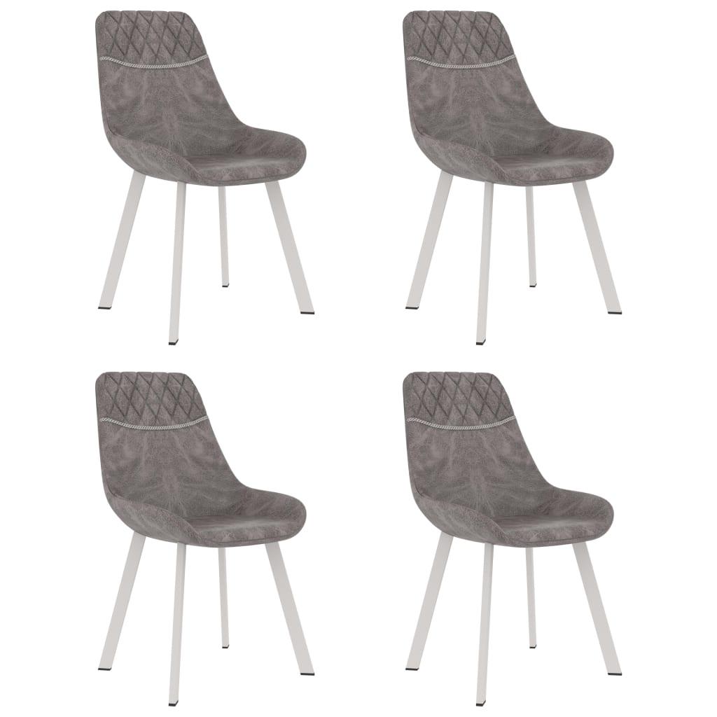 vidaXL Blagovaonske stolice od umjetne kože 4 kom sive