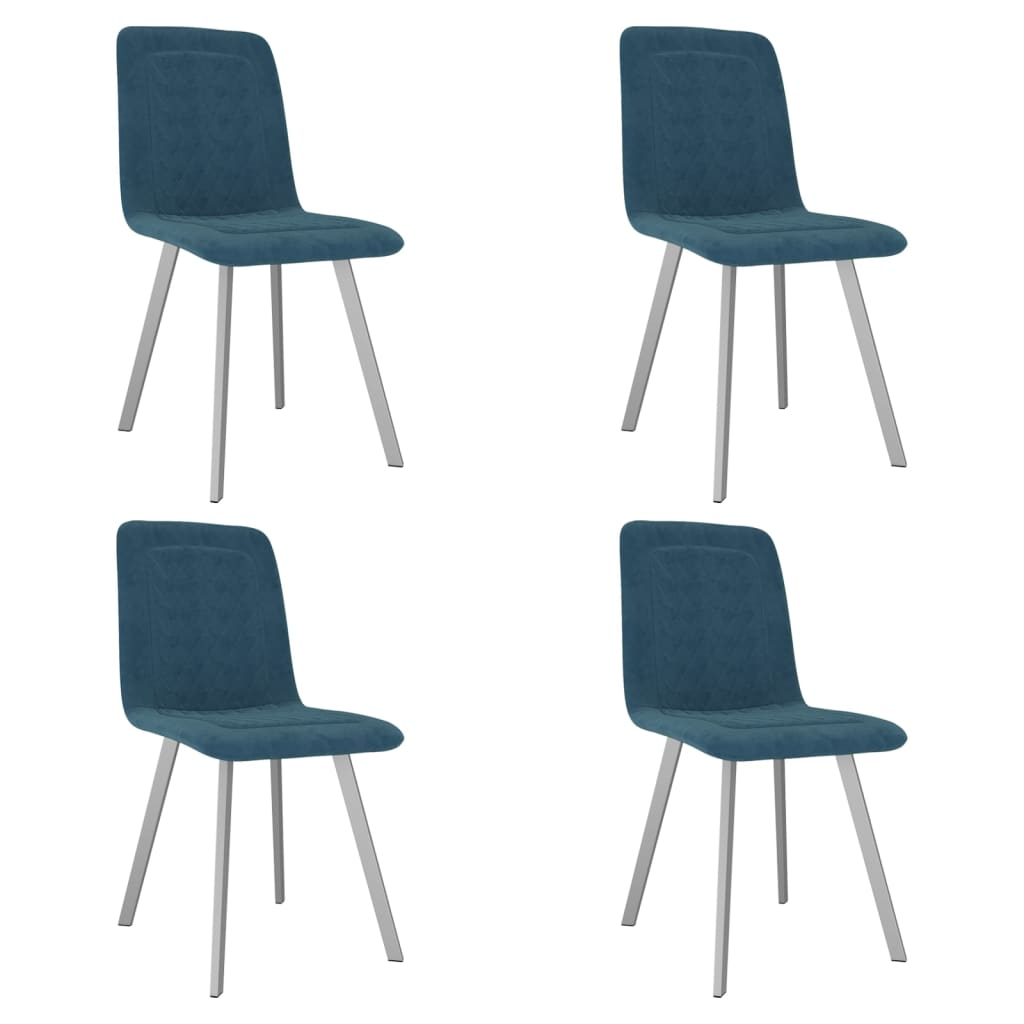vidaXL Καρέκλες Τραπεζαρίας 4 τεμ. Μπλε Βελούδινες