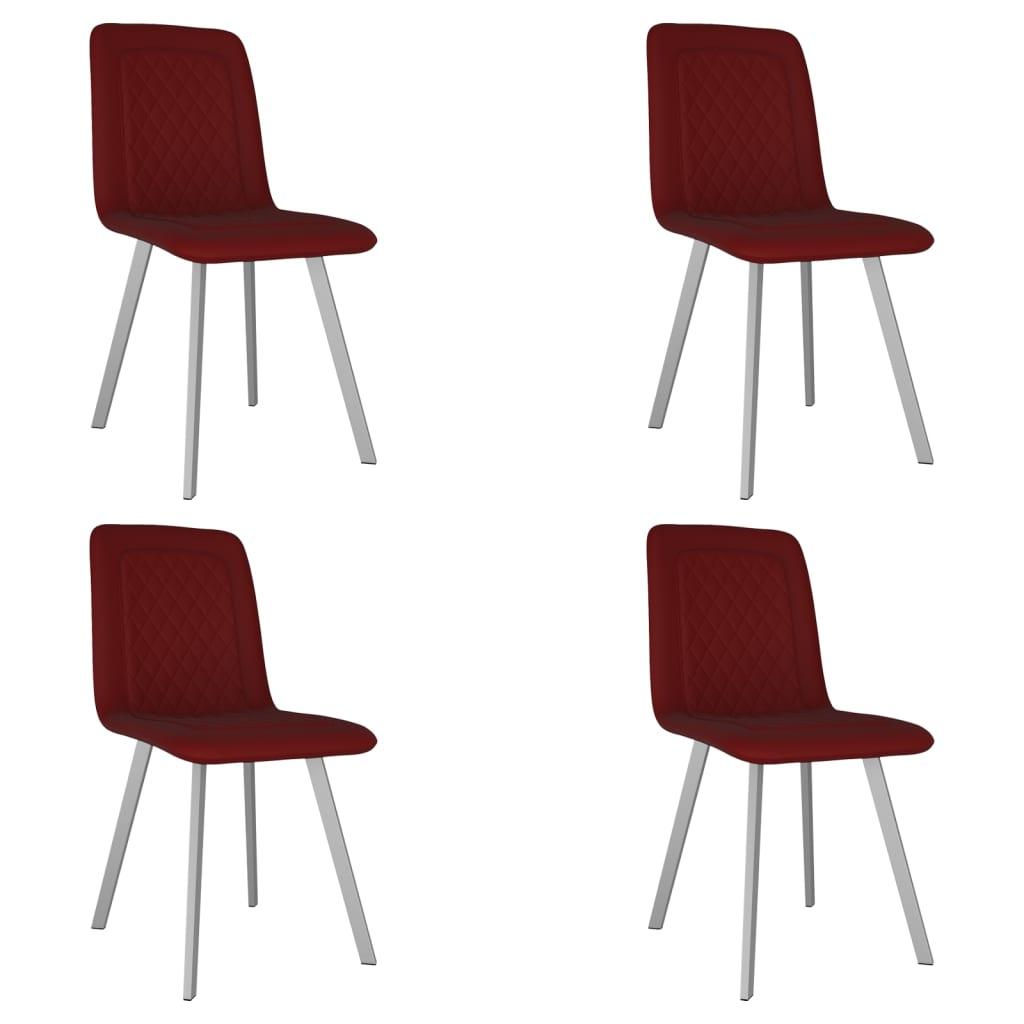 vidaXL Krzesła stołowe, 4 szt., czerwone, aksamitne