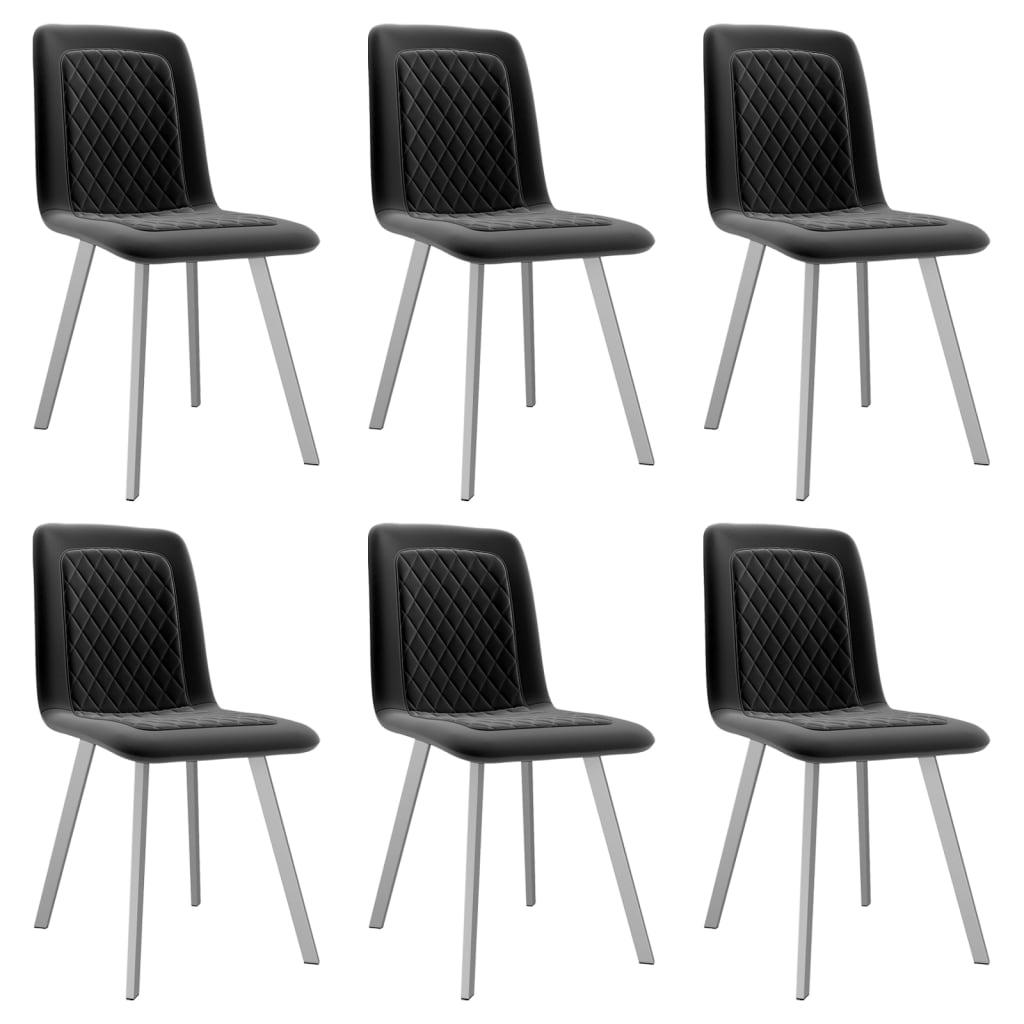 vidaXL Καρέκλες Τραπεζαρίας 6 τεμ. Μαύρες Βελούδινες