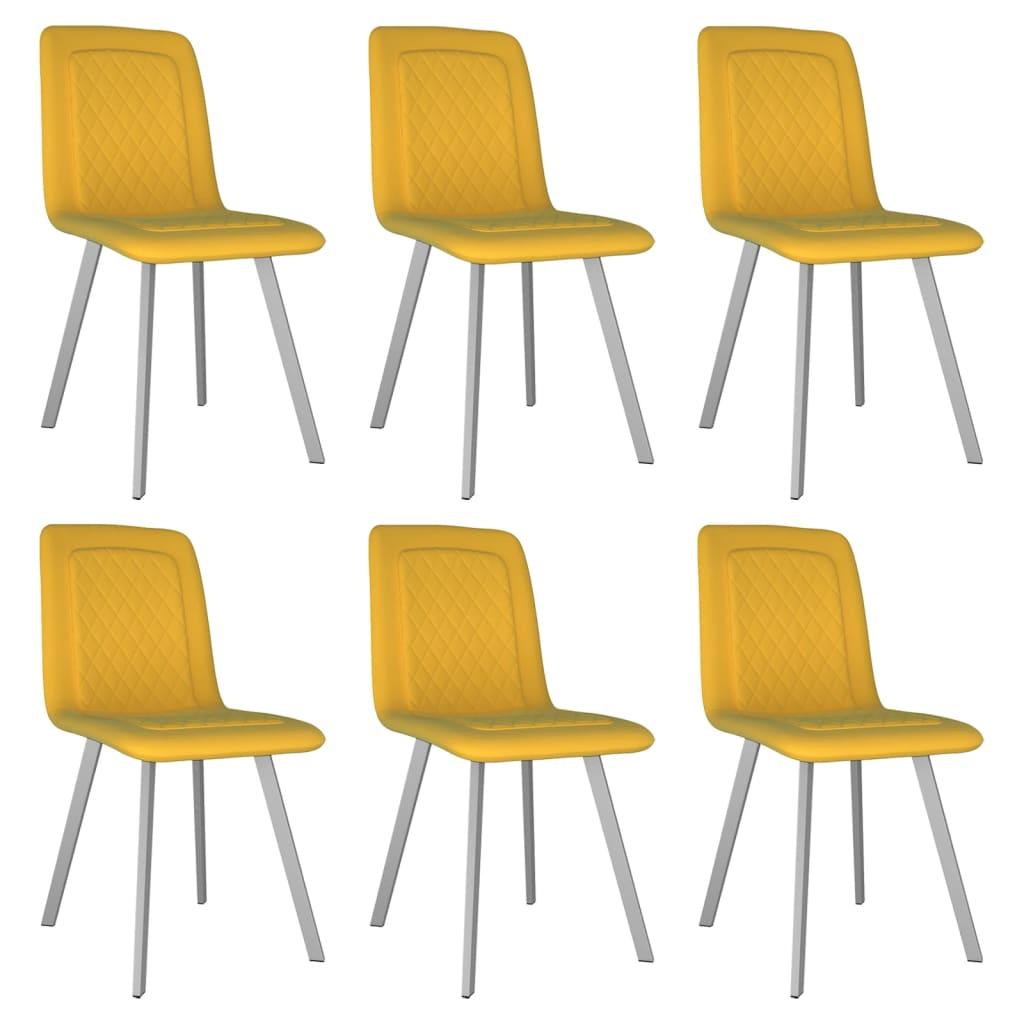 vidaXL Καρέκλες Τραπεζαρίας 6 τεμ. Κίτρινες Βελούδινες