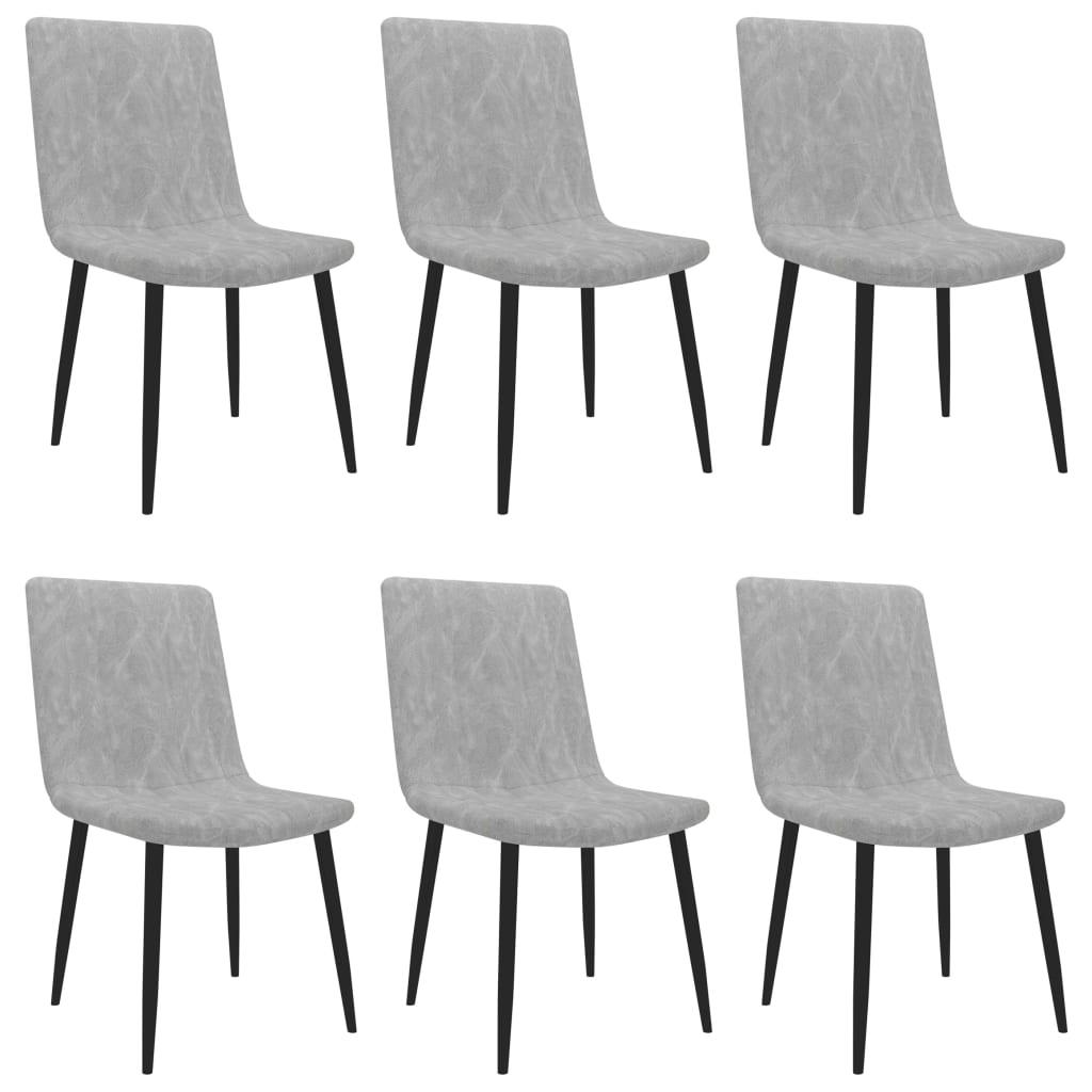 vidaXL Καρέκλες Τραπεζαρίας 6 τεμ. Ανοιχτό Γκρι από Συνθετικό Δέρμα