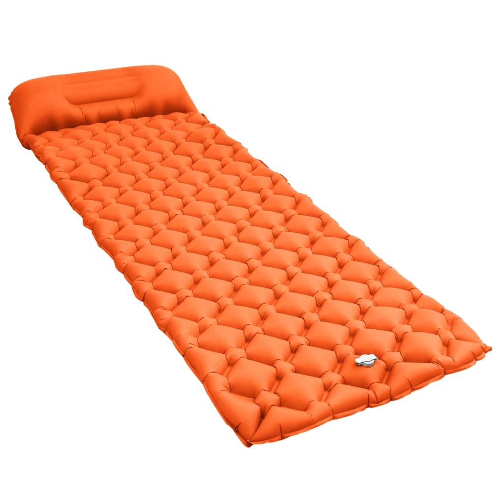 vidaXL Saltea gonflabilă cu pernă, portocaliu, 58 x 190 cm poza 2021 vidaXL
