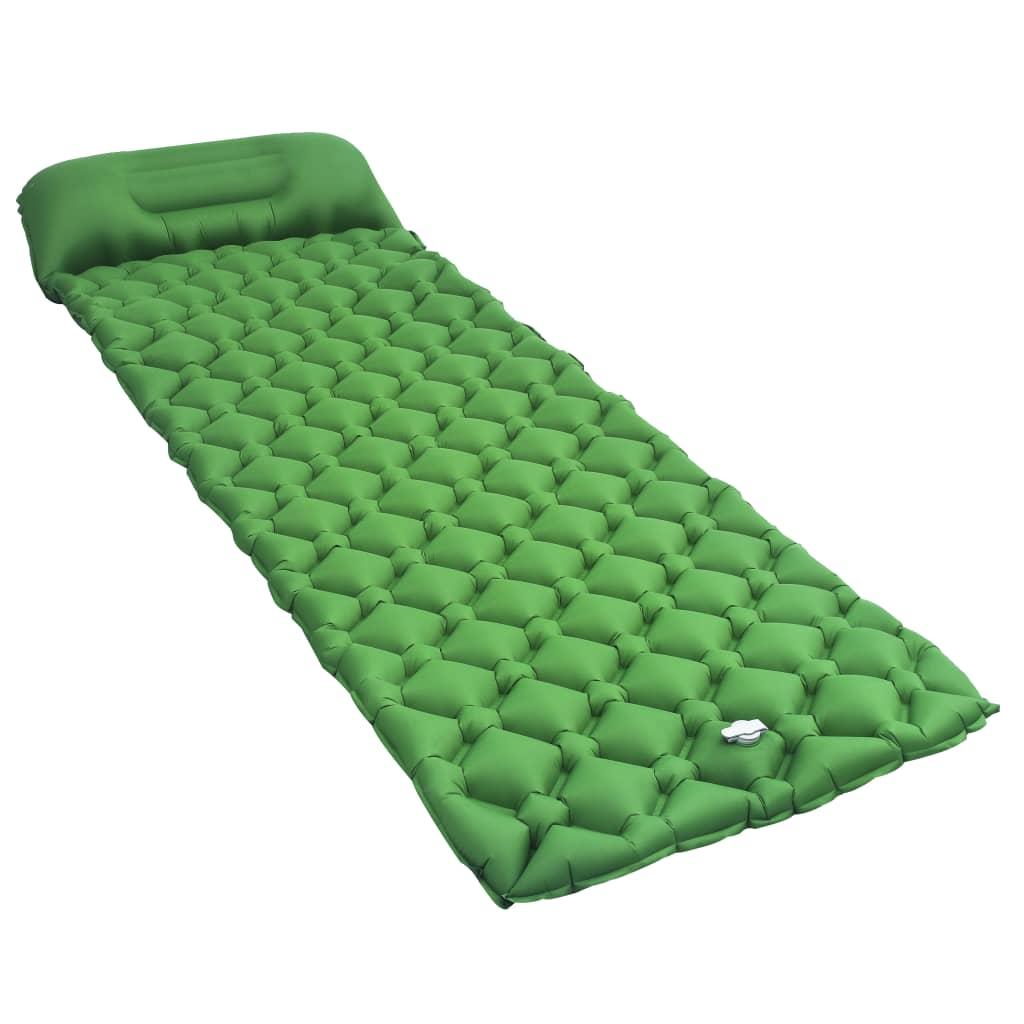 vidaXL Saltea gonflabilă cu pernă, verde, 58 x 190 cm poza 2021 vidaXL
