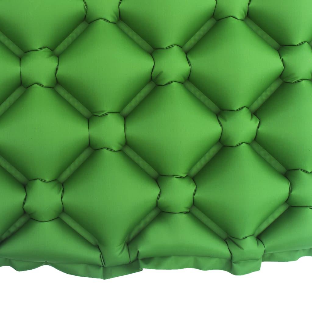 vidaXL Luchtmatras met kussen opblaasbaar 58x190 cm groen
