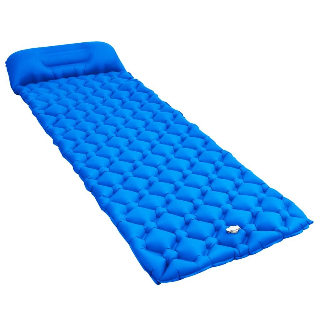 vidaXL Saltea gonflabilă cu pernă, albastru, 58 x 190 cm poza 2021 vidaXL