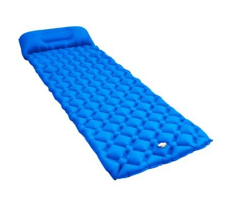 vidaXL Oppblåsbar luftmadrass med pute 58x190 cm blå