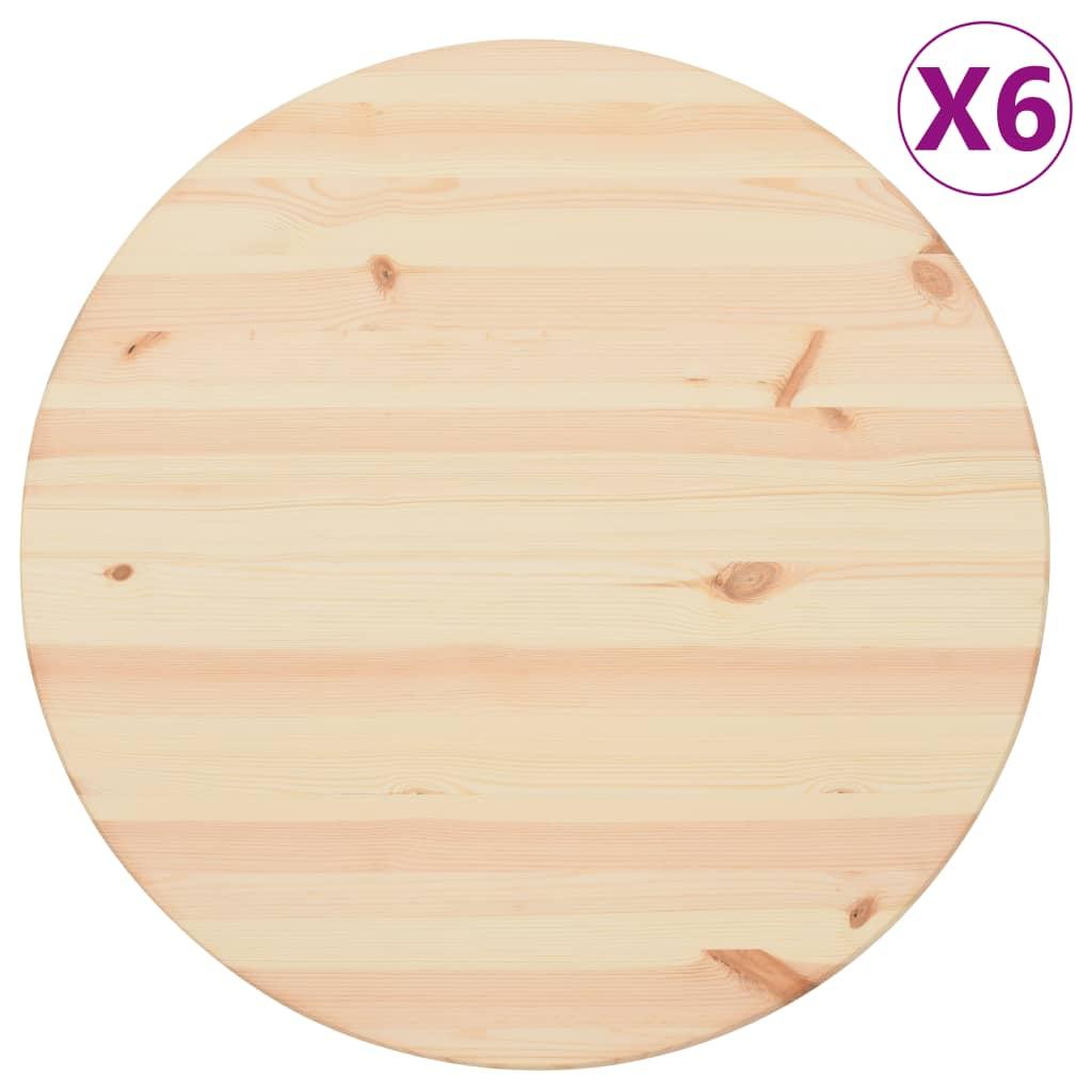 Stolní desky přírodní borové dřevo 6 ks kulaté 25 mm 60 cm