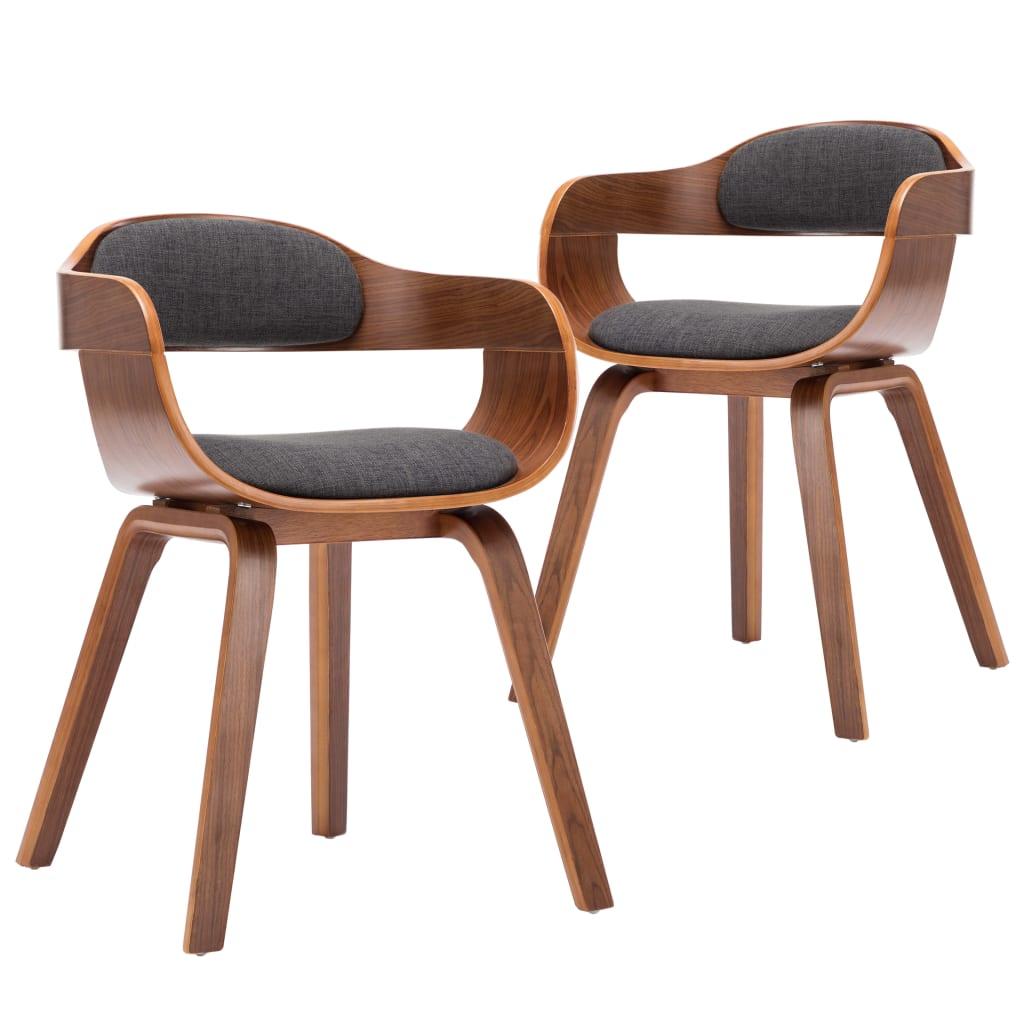 vidaXL Καρέκλες Τραπεζαρίας 2 τεμ. Σκούρο Γκρι Ύφασμα/Λυγισμένο Ξύλο