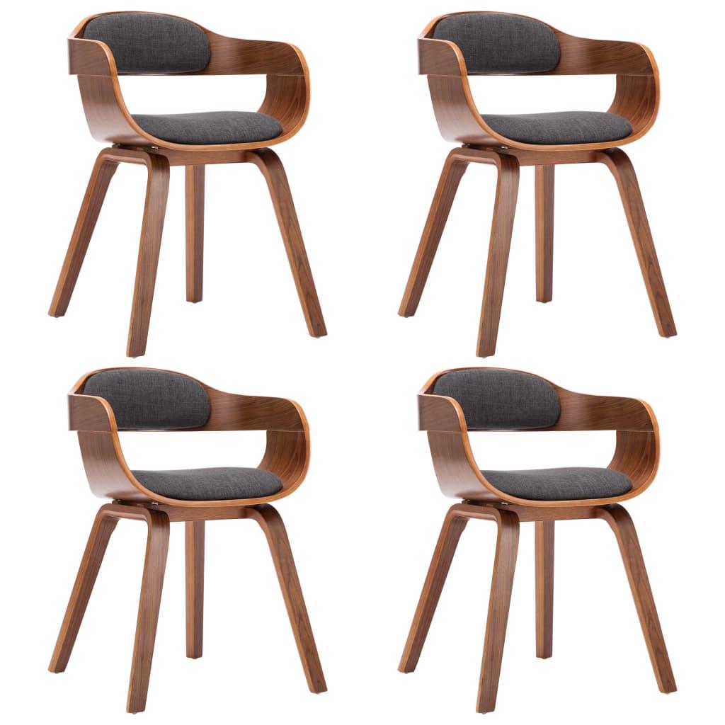vidaXL Καρέκλες Τραπεζαρίας 4 τεμ. Σκούρο Γκρι Ύφασμα/Λυγισμένο Ξύλο