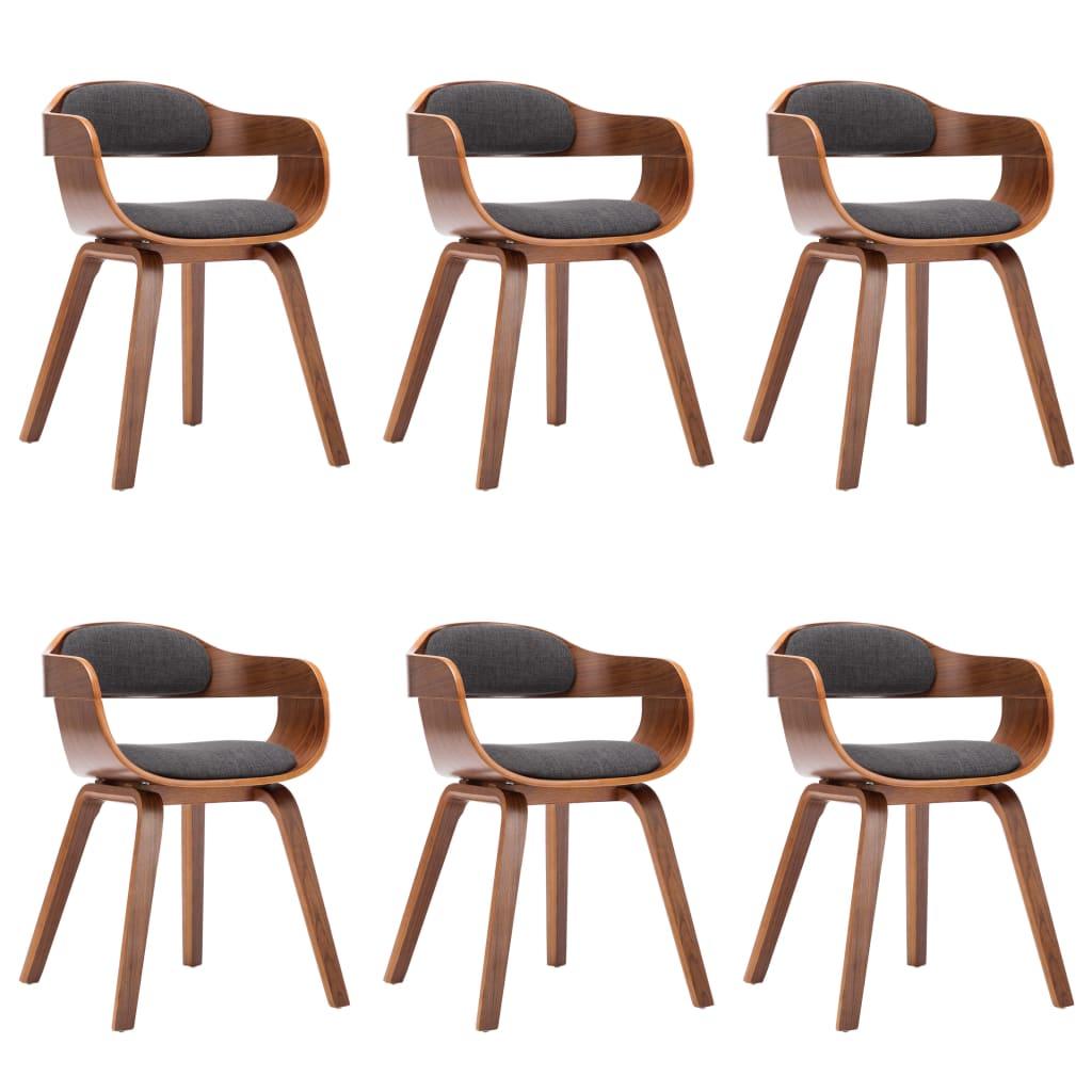 vidaXL Καρέκλες Τραπεζαρίας 6 τεμ. Σκούρο Γκρι Ύφασμα/Λυγισμένο Ξύλο