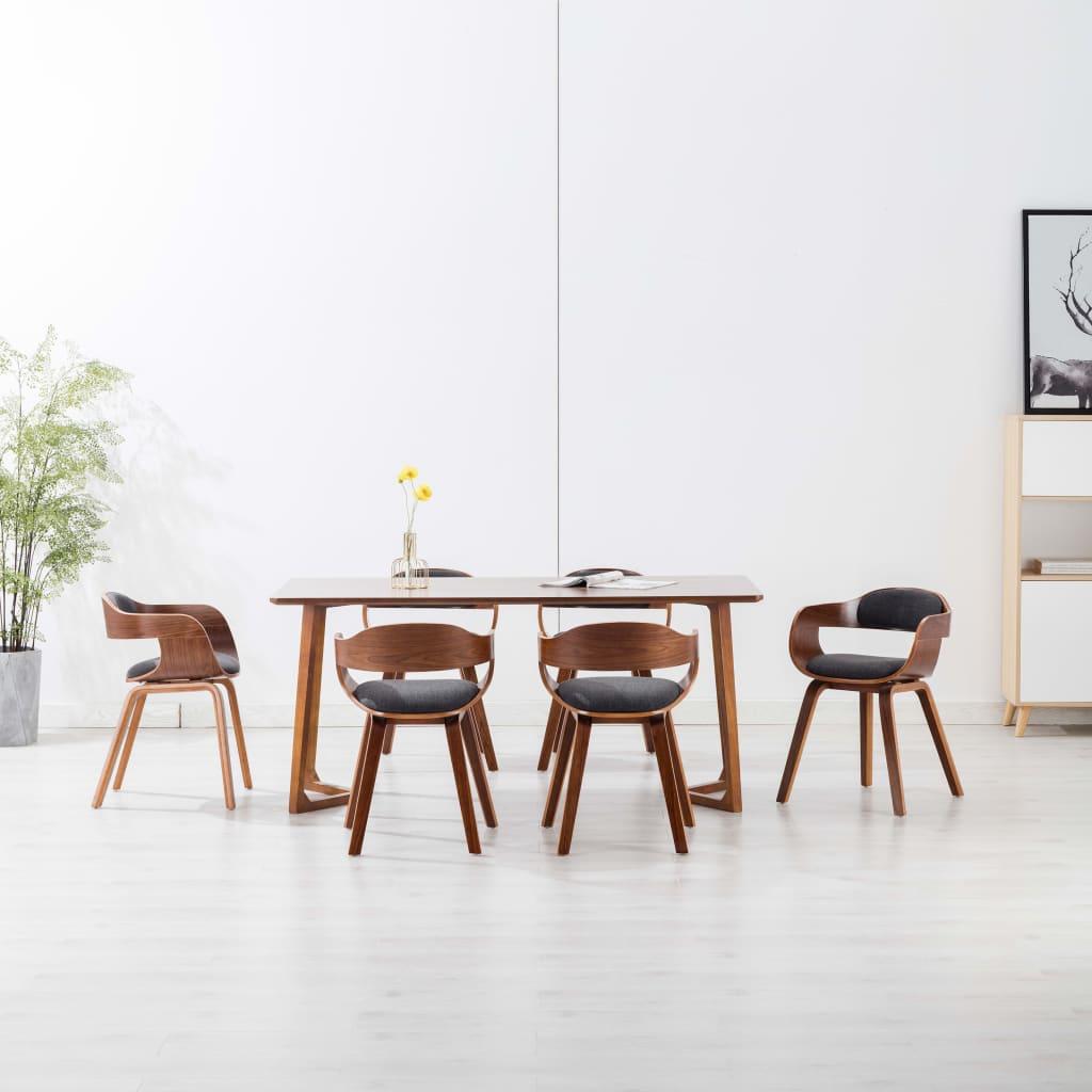 vidaXL Scaune de bucătărie, 6 buc., gri închis, textil și lemn curbat vidaxl.ro