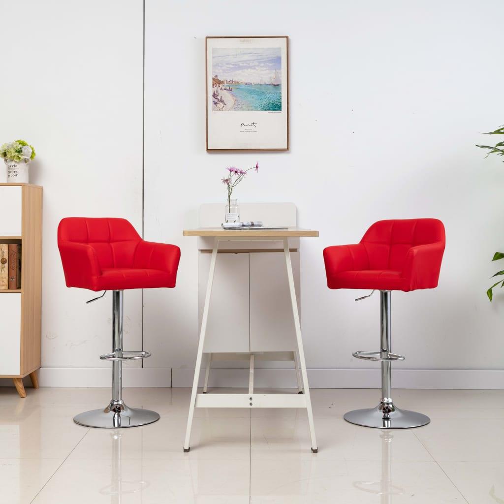 vidaXL Barstoelen 2 st met armleuning kunstleer rood