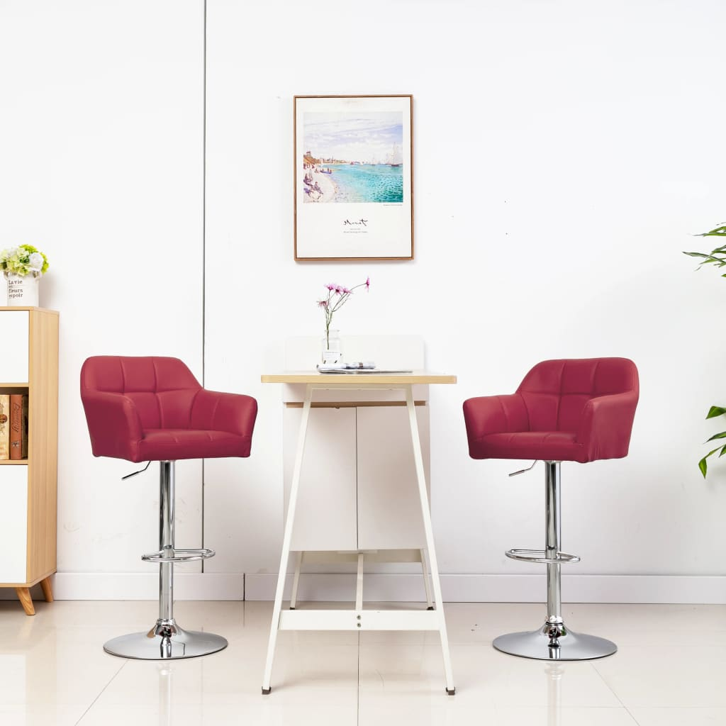 vidaXL Barstoelen 2 st met armleuning kunstleer wijnrood