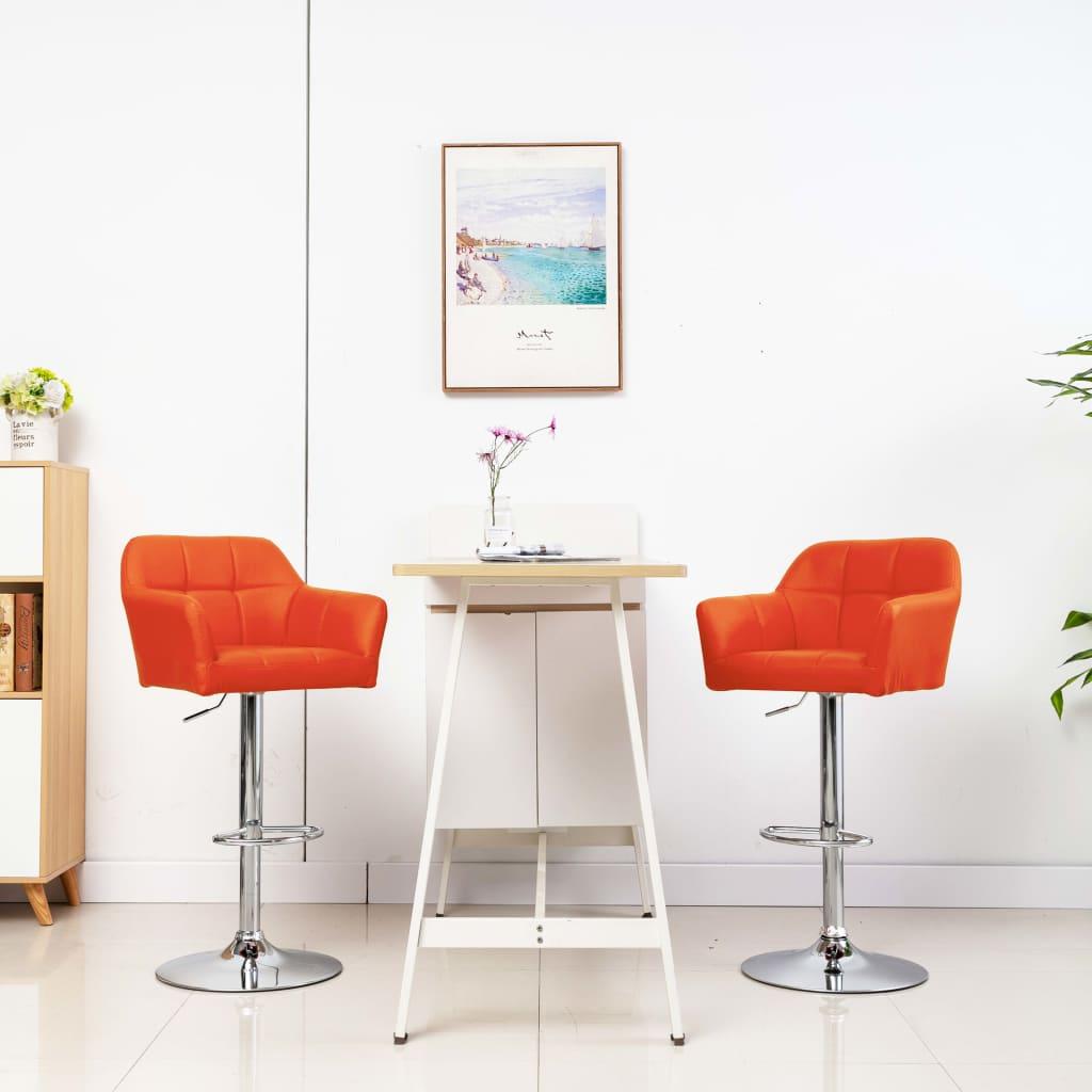 vidaXL Barstoelen 2 st met armleuning kunstleer oranje